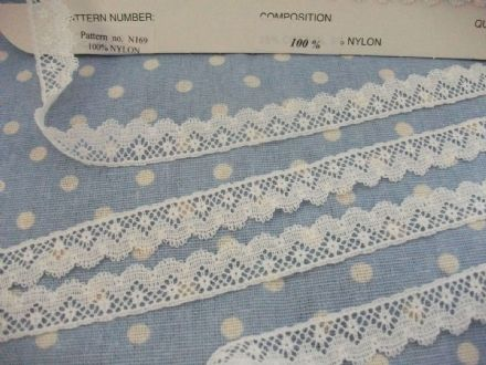 Exclusive FC169 Off White Cluny Nottingham Leavers Lace Trim 1/2 inch wide
